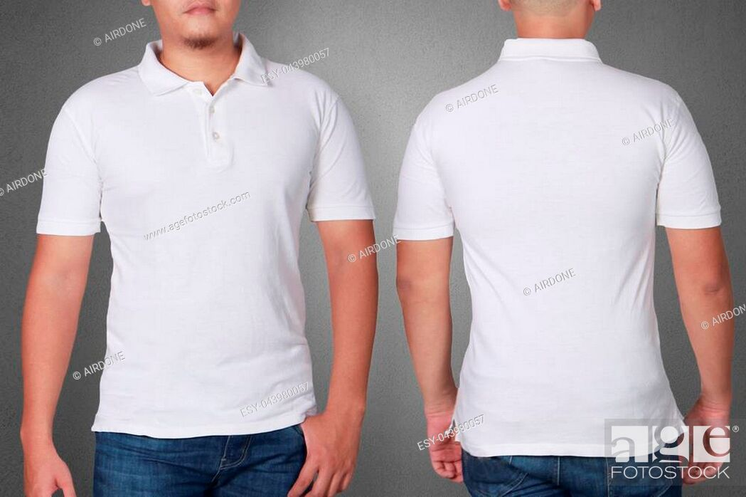 White Polo T Shirt Mock Up Front And Back View Male Model Wear