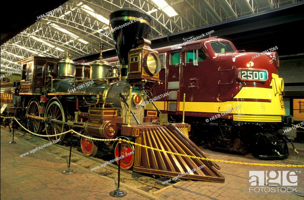 10817065, railroad museum, hall, inside, railroad, trains