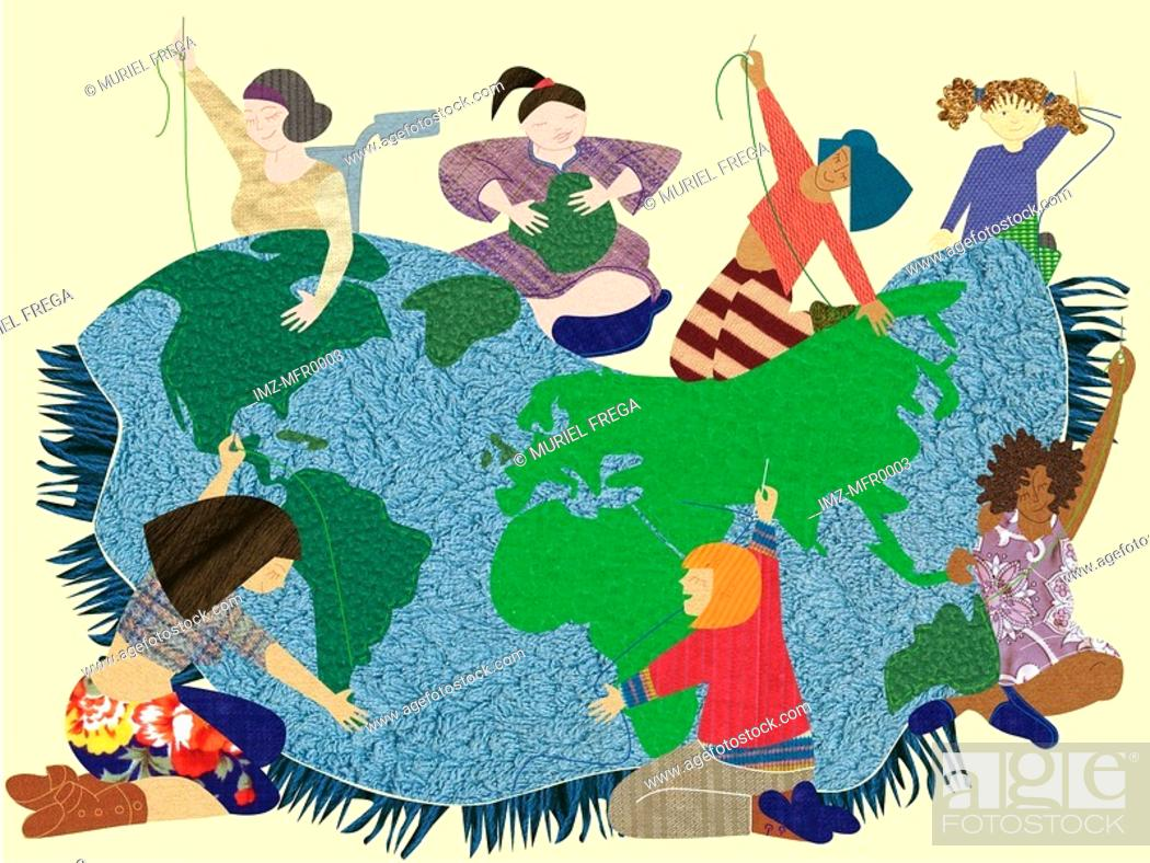Stock Photo: Women making a quilt with an earth design.