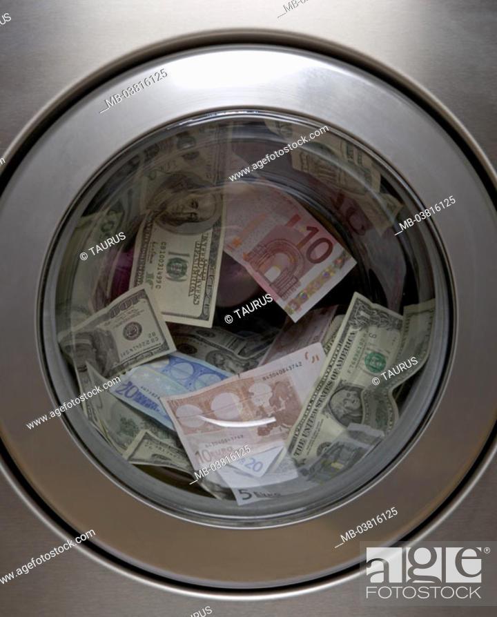Warehing Machine Gaze Porthole Bills Symbol Money Laundry Door