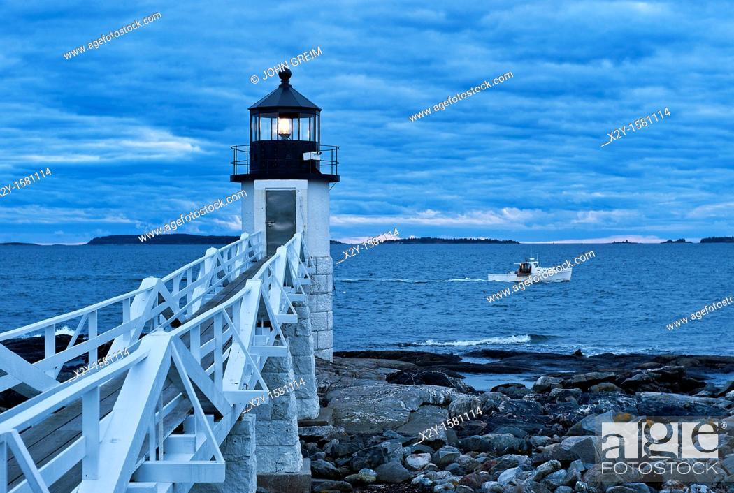 Stock Photo: Marshall Point Light, Port Clyde, Maine, ME, USA.