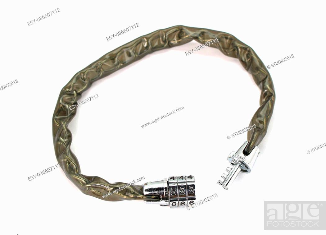 Stock Photo: Wire Rope Locking Password Cable Isolated On White.