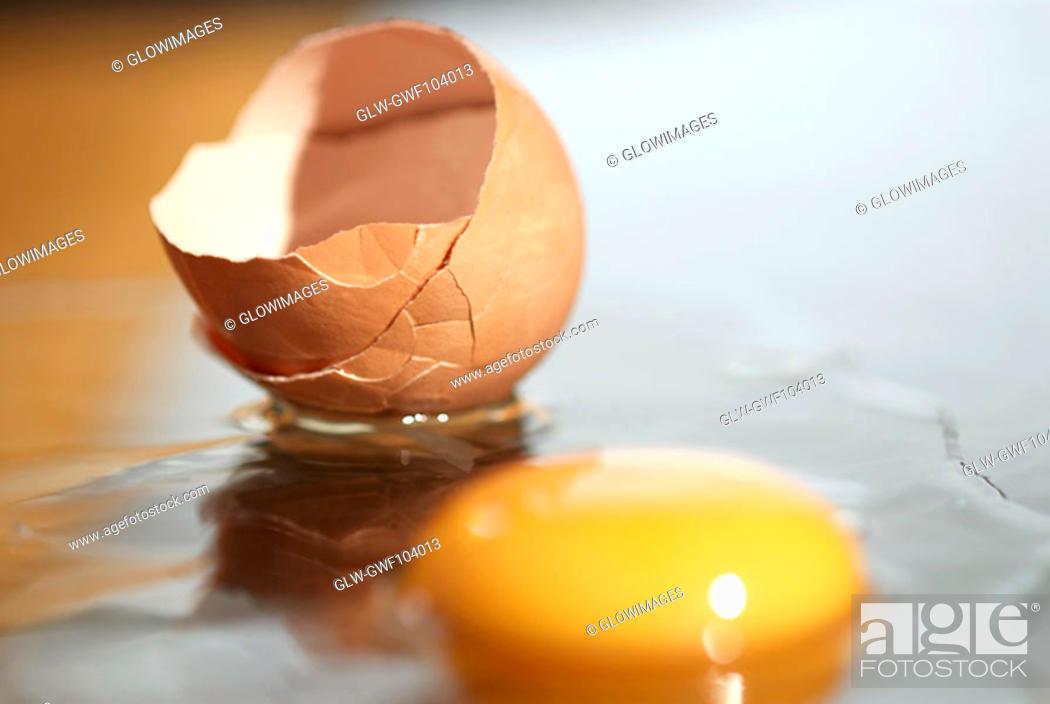 Stock Photo: Close-up of a broken egg.