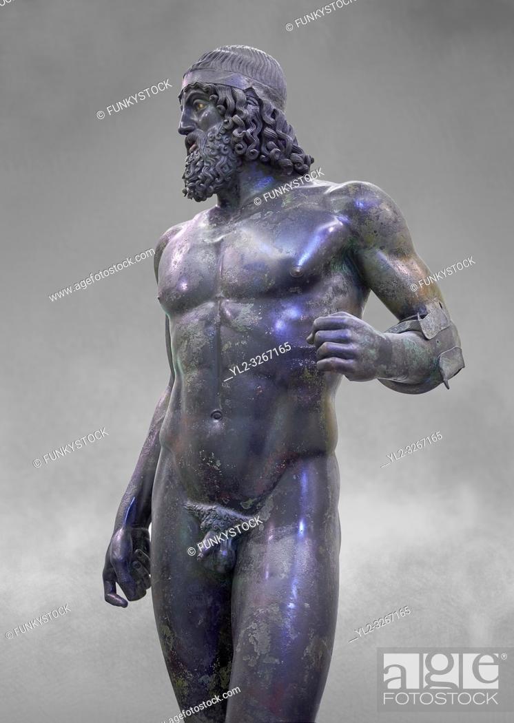 Stock Photo: The Riace bronze Greek statue A cast about 460 BC. Museo Nazionale della Magna Grecia, Reggio Calabria, Italy.