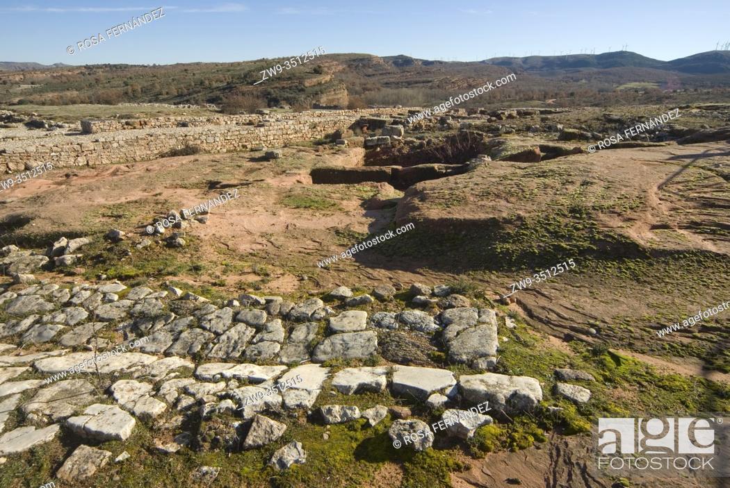 Stock Photo: Roman city of Tiermes, Centuries I to III A.C., forum area and remains of calzada -roman road-, Pela Mountains, Montejo de Tiermes, province of Soria.