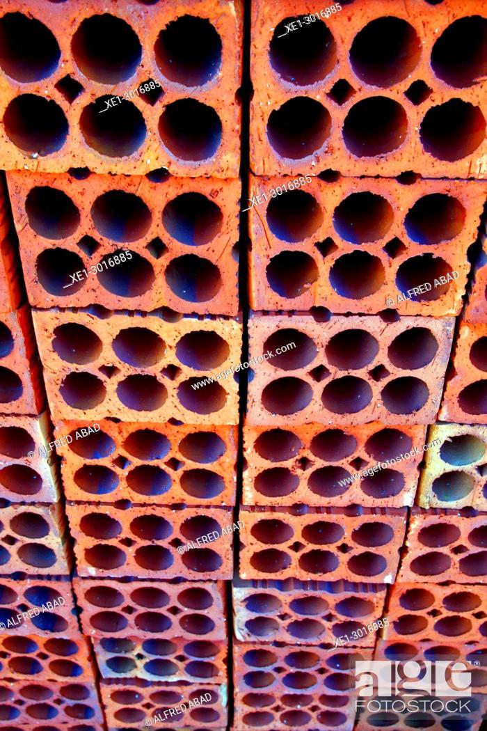 Stock Photo: brick wall, Terracotta Ceramics Museum, La Bisbal de l'Emporda, Girona, Catalonia, Spain.
