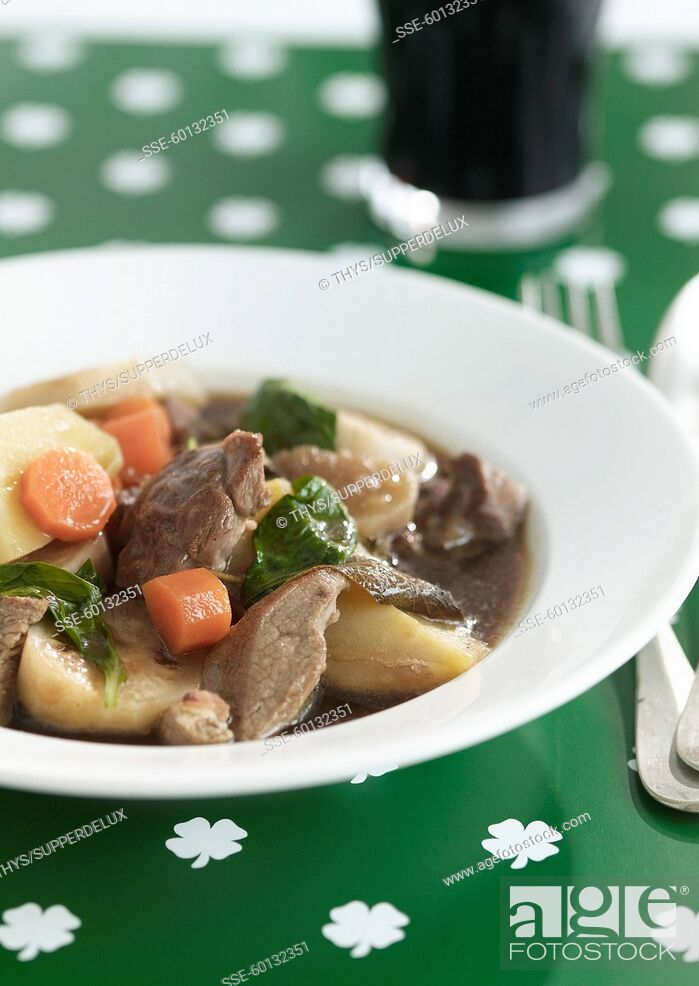 Stock Photo: Irish stew with Guinness.
