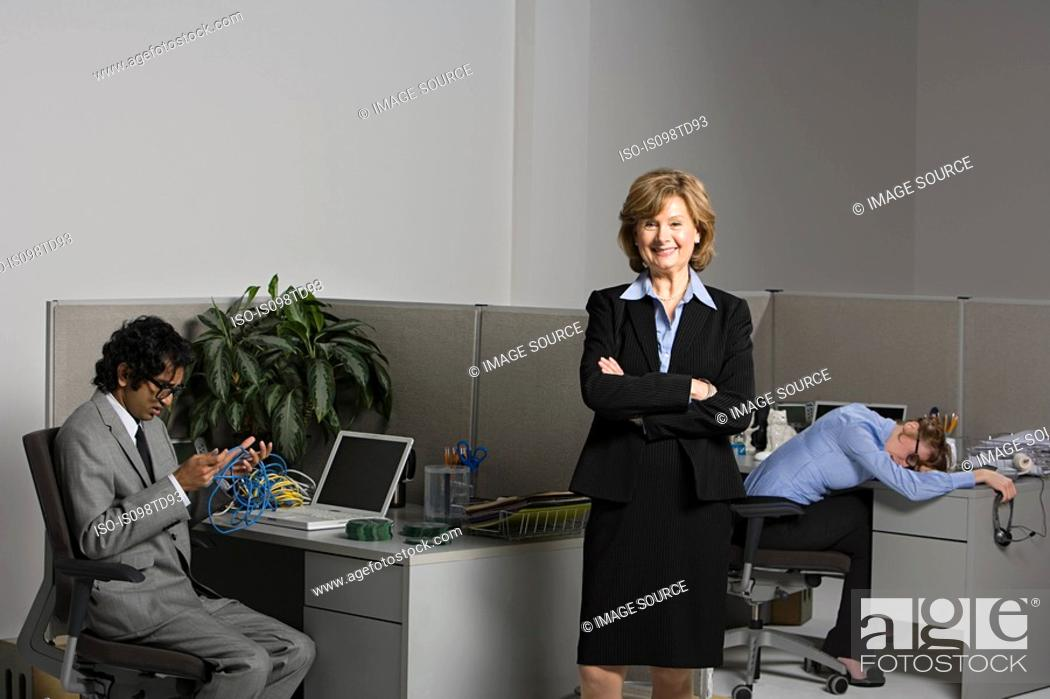 Stock Photo: Exhausted woman with boss and businessman.