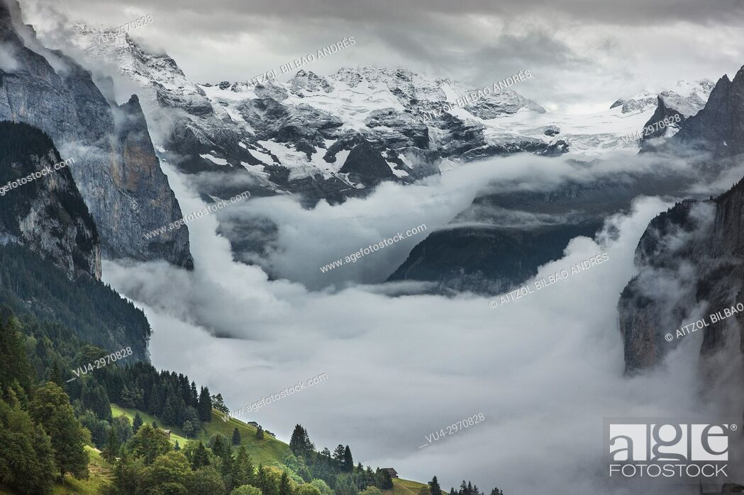 Stock Photo: The paradise in the alps. Lauterbrunnen valley, Switzerland. An incredible place.