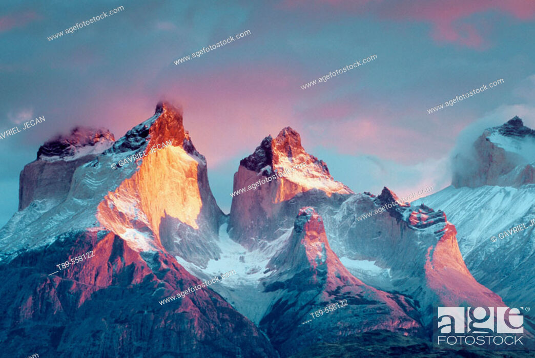 Stock Photo: South America, Chile, Patagonia Torres del Paine National Park Cuernos del Paine at sunrise.