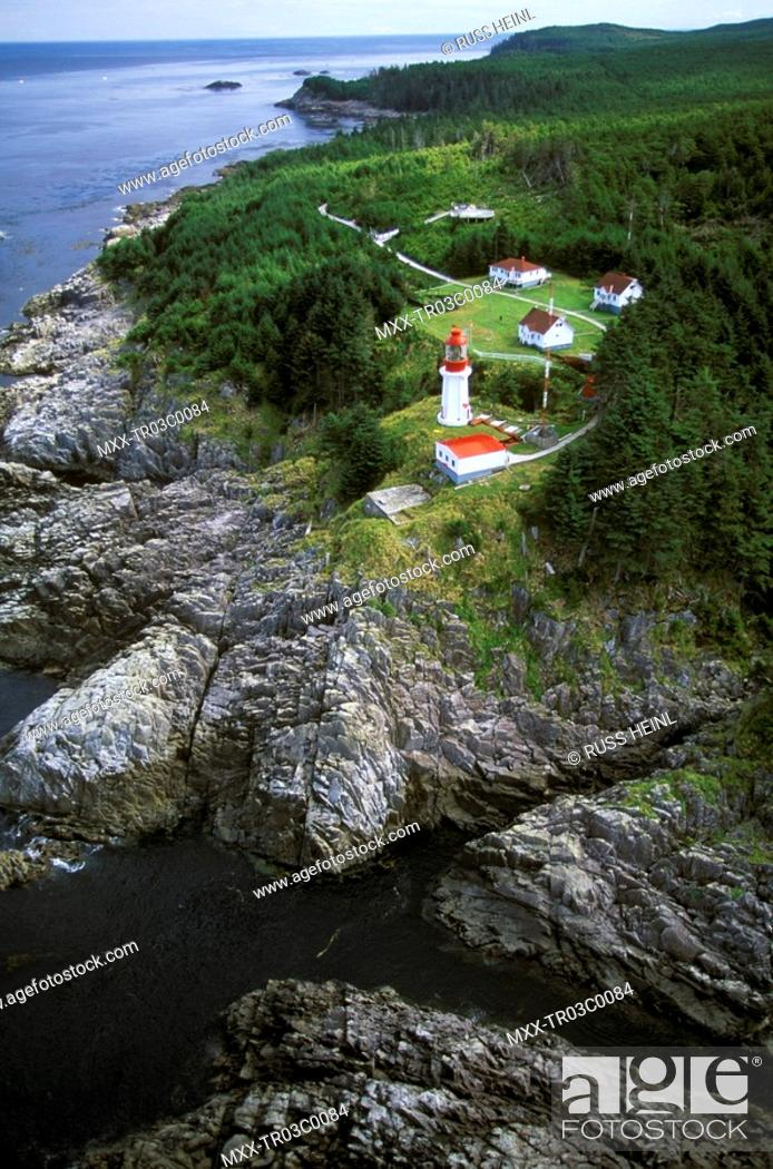 Stock Photo: Aerial of Langara Lighthouse, Queen Charlotte Islands, British Columbia, Canada.