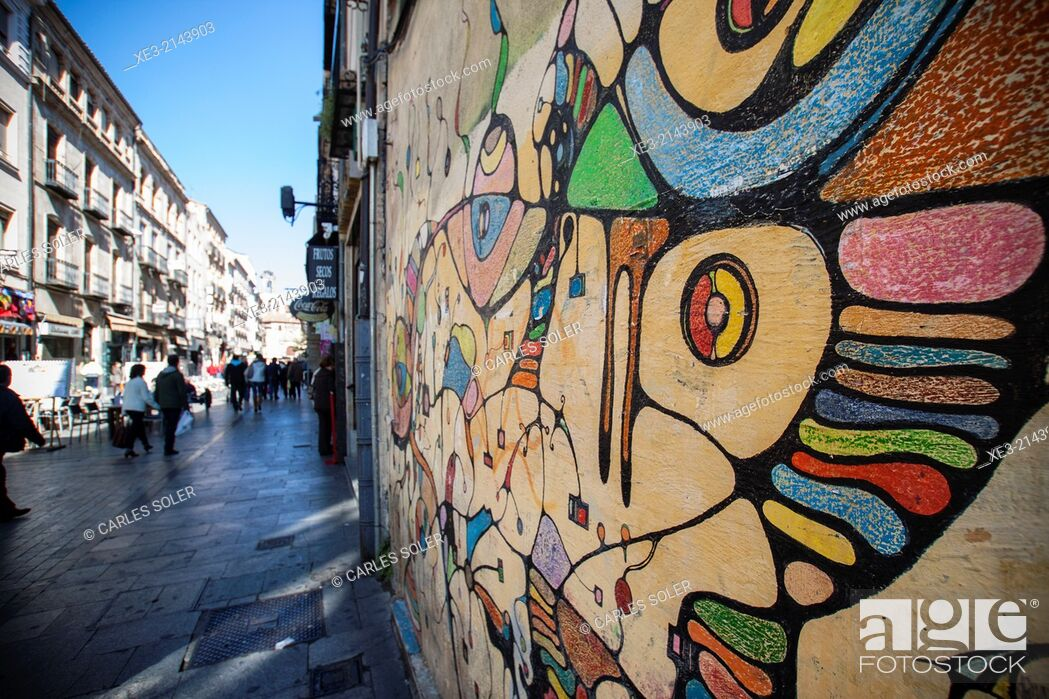 Stock Photo: Graffiti near Plaza Mayor, Salamanca, Castile-Leon, Spain.