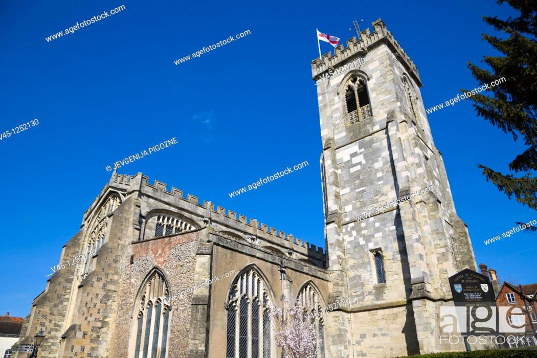 Stock Photo: Sarum St Thomas and ST Edmund, Church of St Thomas Becket, The Maltings, Salisbury, Wiltshire, England, UK.