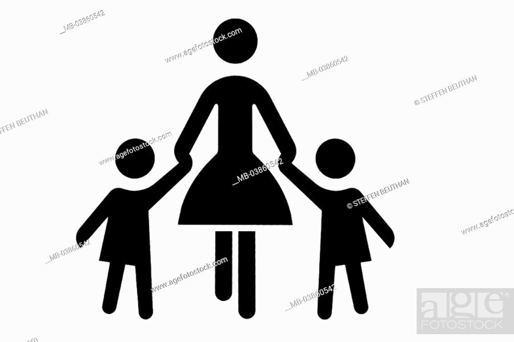 Pictogram Mother Children Hand In Hand Black And White Symbol