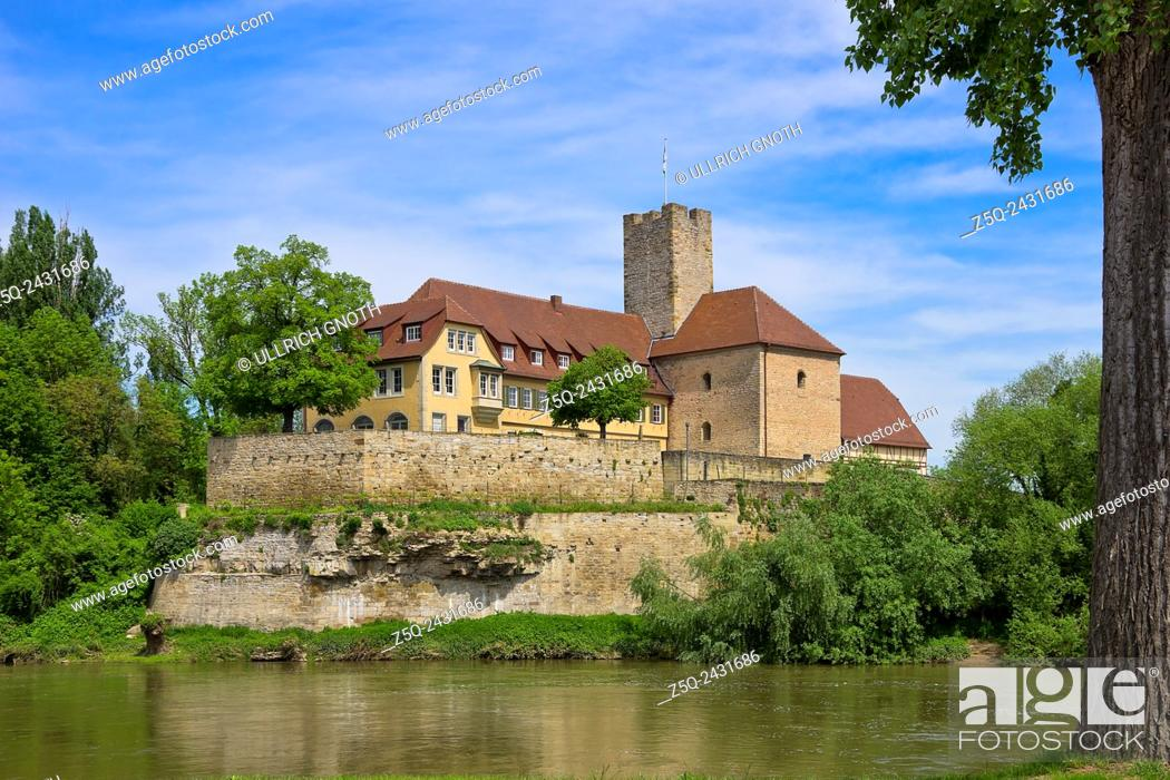 Stock Photo: The medieval Grafenburg Castle and nowadays townhall of Lauffen near Heilbronn, Germany.