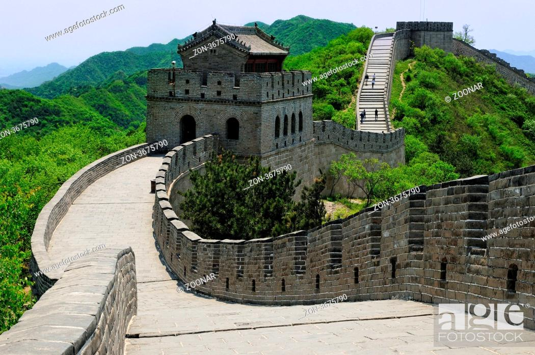 Photo de stock: Große Mauer mit Wehrturm China, Great Wall of China fortified tower,.