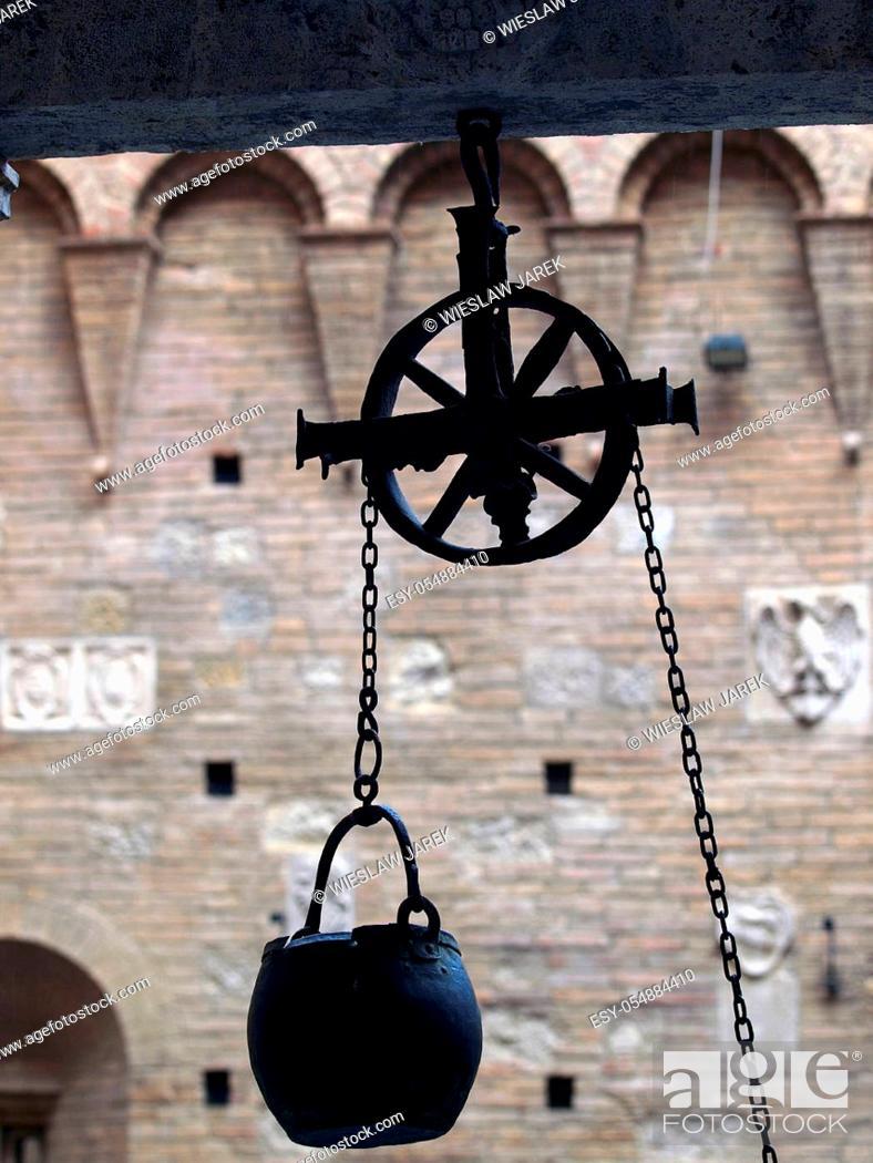 Stock Photo: Siena - the courtyard of the Palazzo Chigi-Saracini.