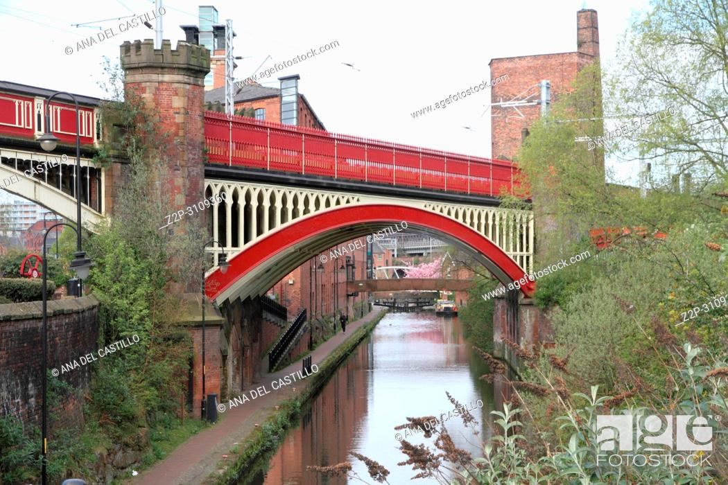 Stock Photo: Castlefield is an inner city conservation area of Manchester. England. UK.