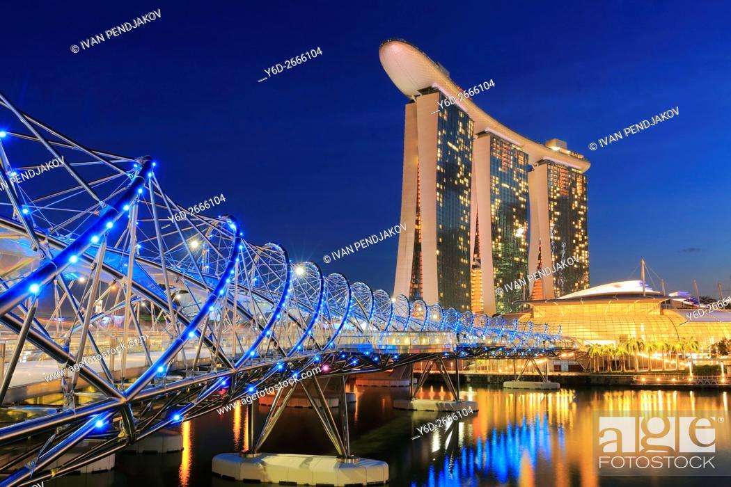 Stock Photo: Marina Bay Sands and Helix Bridge at Dusk, Singapore.