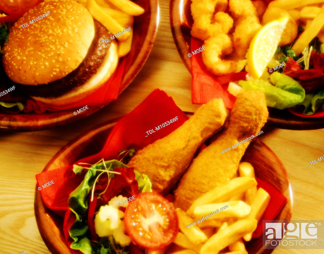 Stock Photo: A selection of fast food.