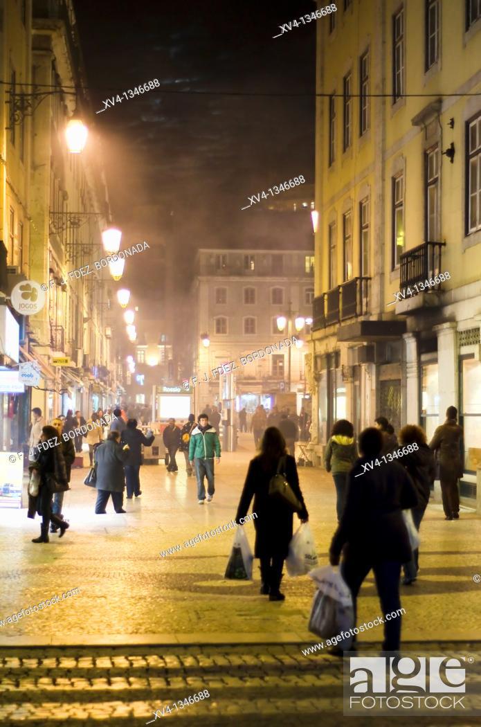 Stock Photo: Praca Dom Pedro IV or Rossio Square, Rossio  Lisbon, Portugal.