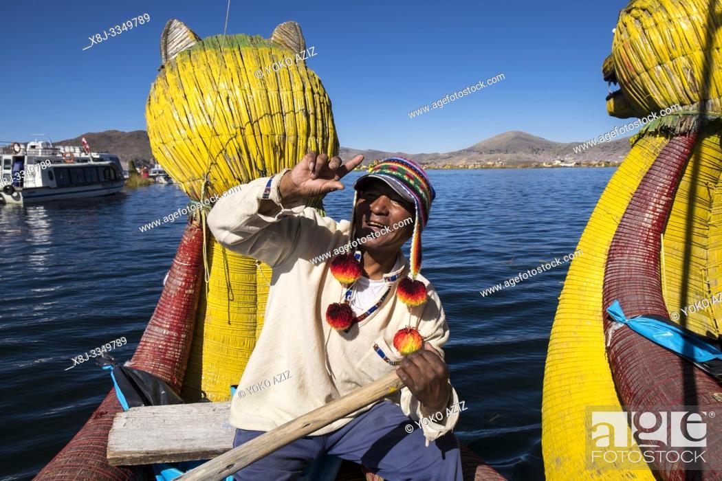 Stock Photo: Peru, Titicaca lake, Uros islands.