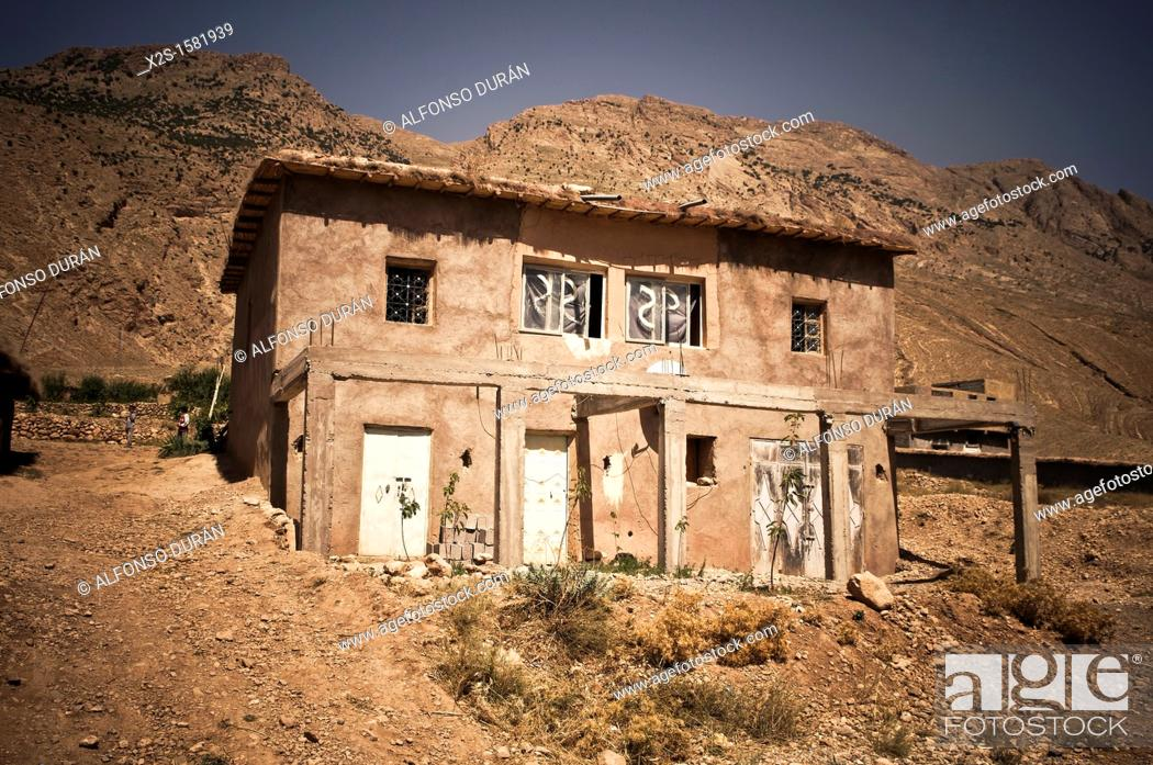Stock Photo: adobe house in the High Atlas, Azilal, Morocco.