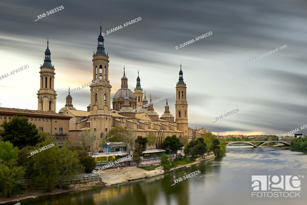 Stock Photo: View of the Basilica of Our Lady of Pilar, at sunset in Zaragoza Aragon Spain.
