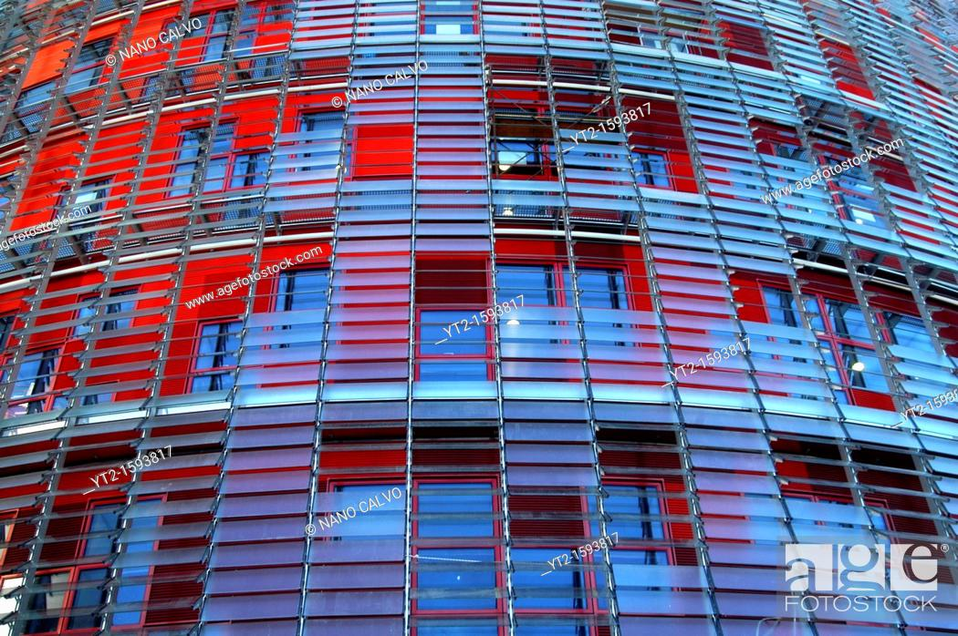 Stock Photo: Torre Agbar or Agbar Tower, a 142 metre skyscraper designer by architect Jean Nouvel located in Glorias Square, Barcelona, Spain.