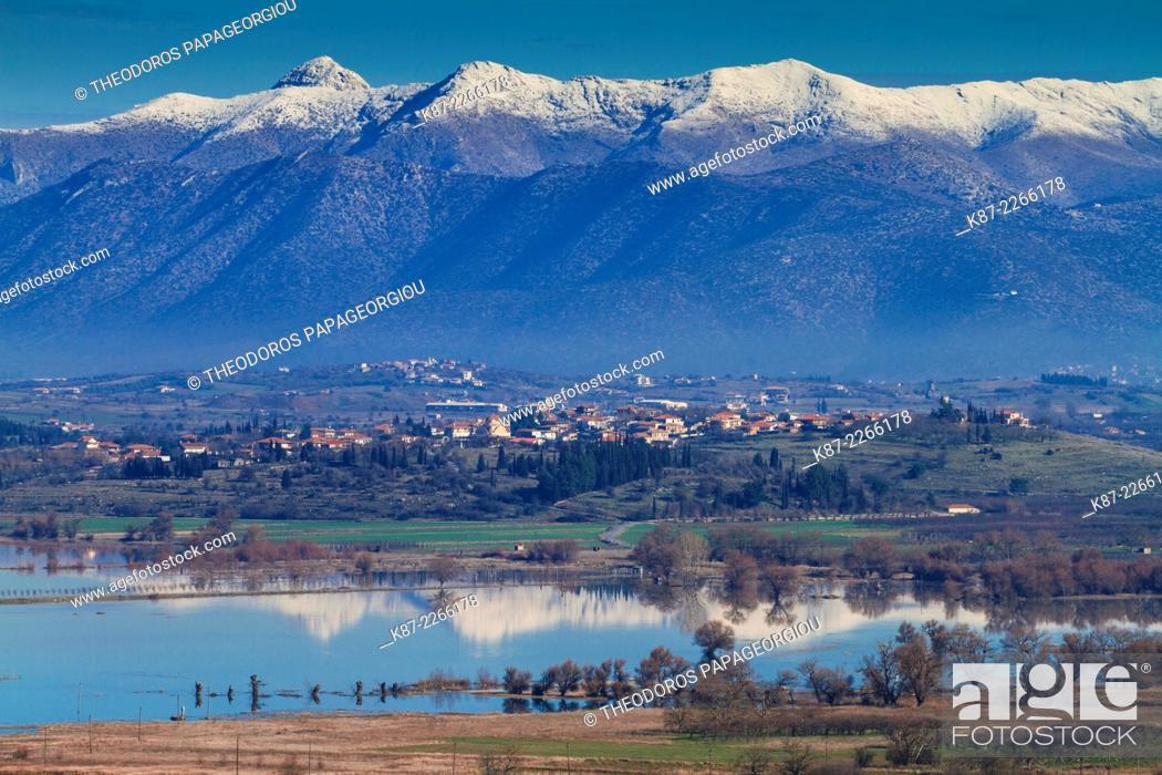 Stock Photo: Vouno village over Taka lake. Tegea, Arcadia, Peloponnese.