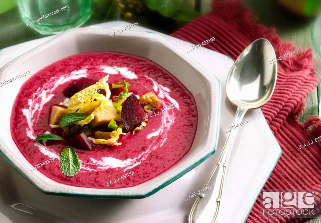 Stock Photo: Beet soup.