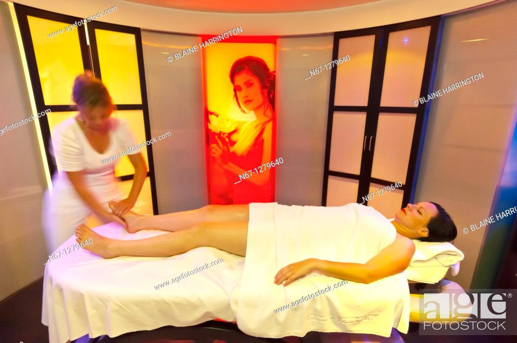 Stock Photo: A massage in the Futeresse suite in the spa, Brenner's Park Hotel & Spa, Baden Baden, Baden-Württemberg, Germany.
