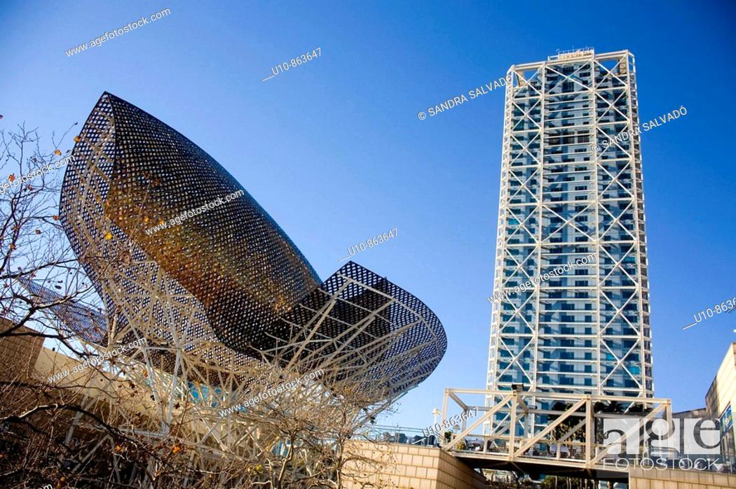 Stock Photo: Peix (Fish) sculpture by Frank O. Gehry, Port Olimpic, Barcelona. Catalonia.