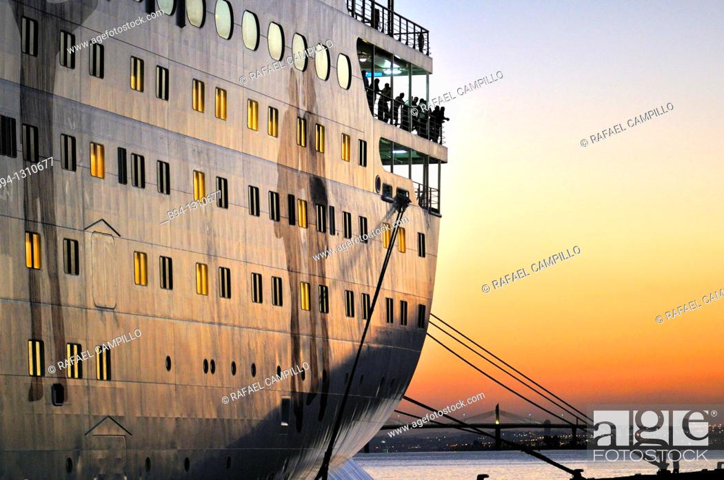Stock Photo: Cruise ship at La Goulette, Tunis, Tunisia.