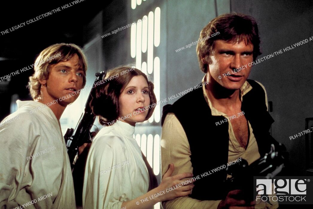 "Stock Photo: Studio Publicity Still of Harrison Ford, Carrie Fisher and Mark Hamill in """"Star Wars"""" 1977 20th Century Fox."