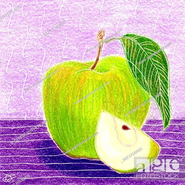 Stock Photo: green apple.