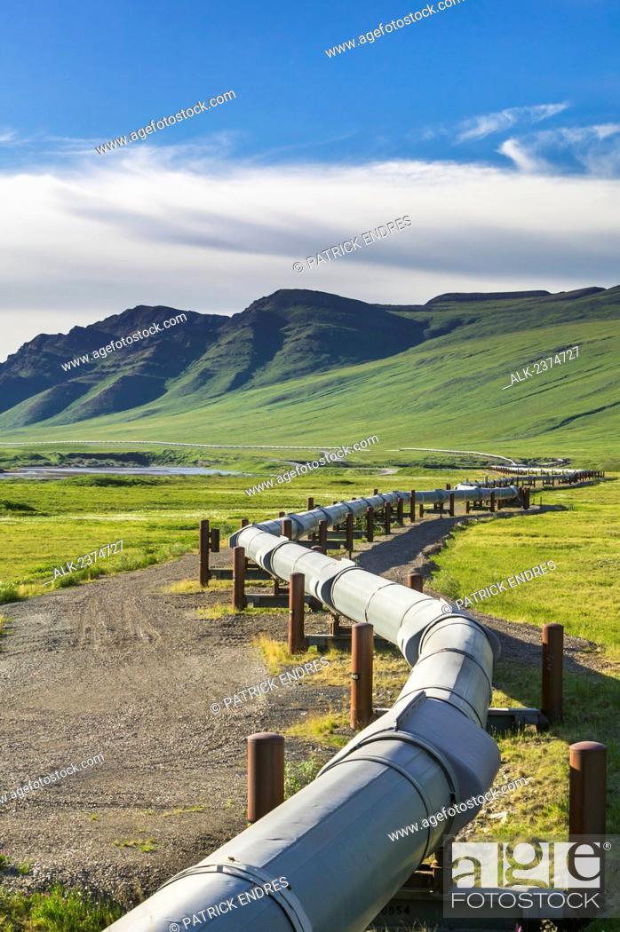 Stock Photo: The Trans-Alaska Pipeline System north of the Brooks range, view of the Endicott mountains of the Brooks range; Alaska, United States of America.