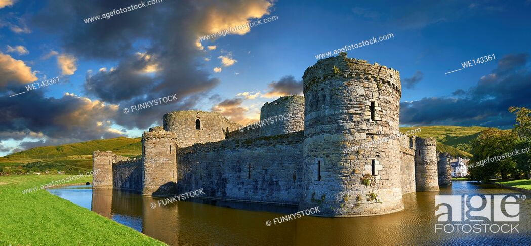 Stock Photo: Beaumaris Castle built in 1284 by Edward 1st, considered to be one of the finest example of 13th century military architecture by UNESCO.