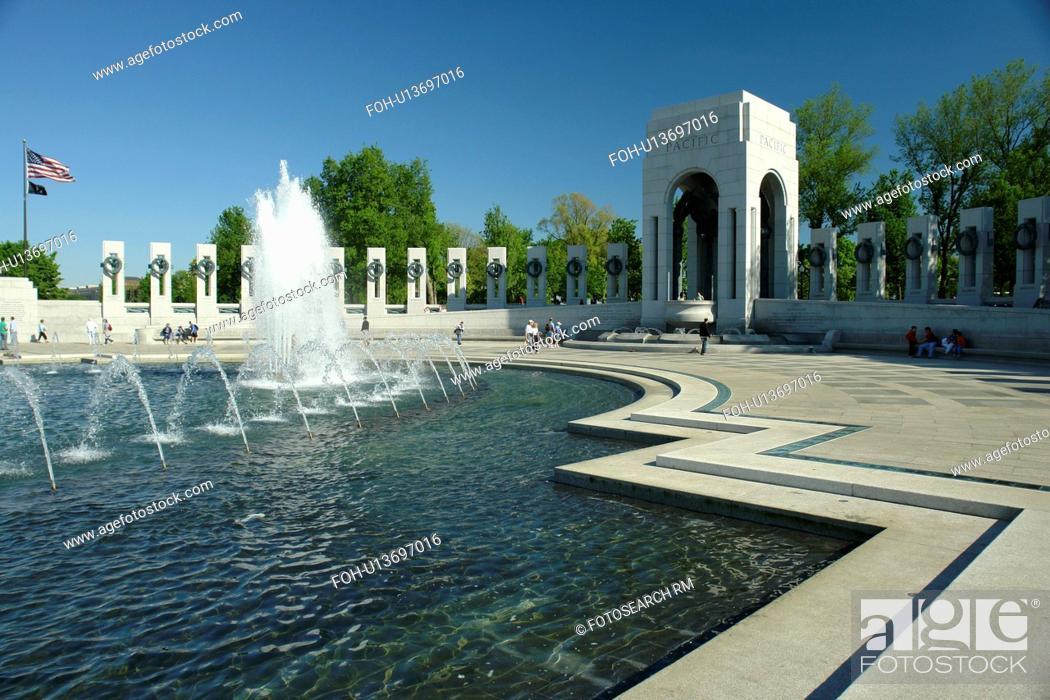 Stock Photo: Washington DC, D.C District of Columbia, World War II Memorial, Memorial Pillars, Pacific Pavilion, Fountain, National Mall, Memorial Parks, Nation's Capital.