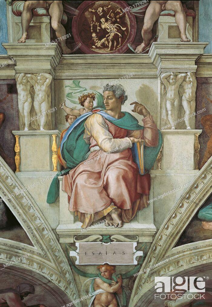 Imagen: Sistine Chapel (Cappella Sistina), by Michelangelo Buonarroti, 16th Century, fresco. Vatican City, Vatican Museums. Detail of the vault, 1508 - 1512.