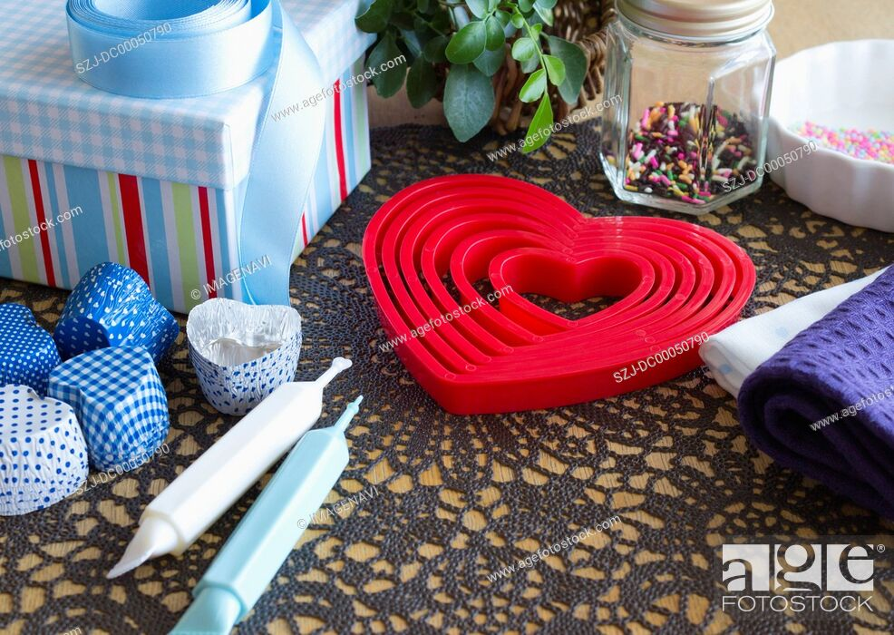 Stock Photo: Heart-shaped baking supplies.