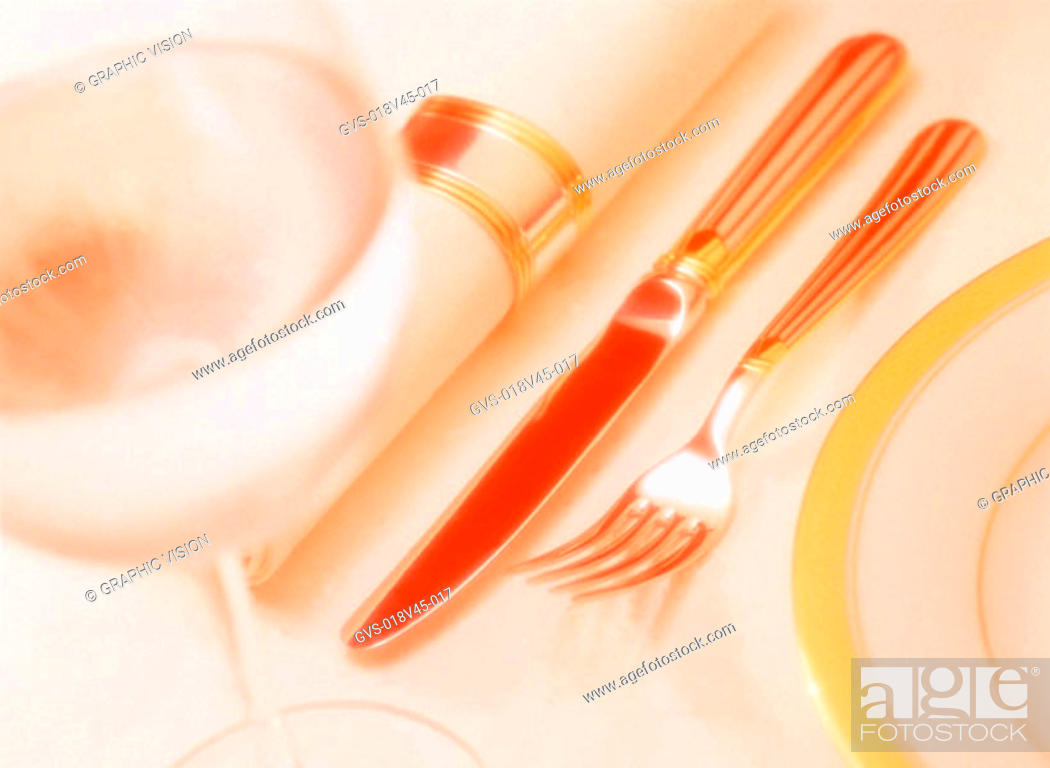 Stock Photo: Close Up of Wineglass Knife and Fork.