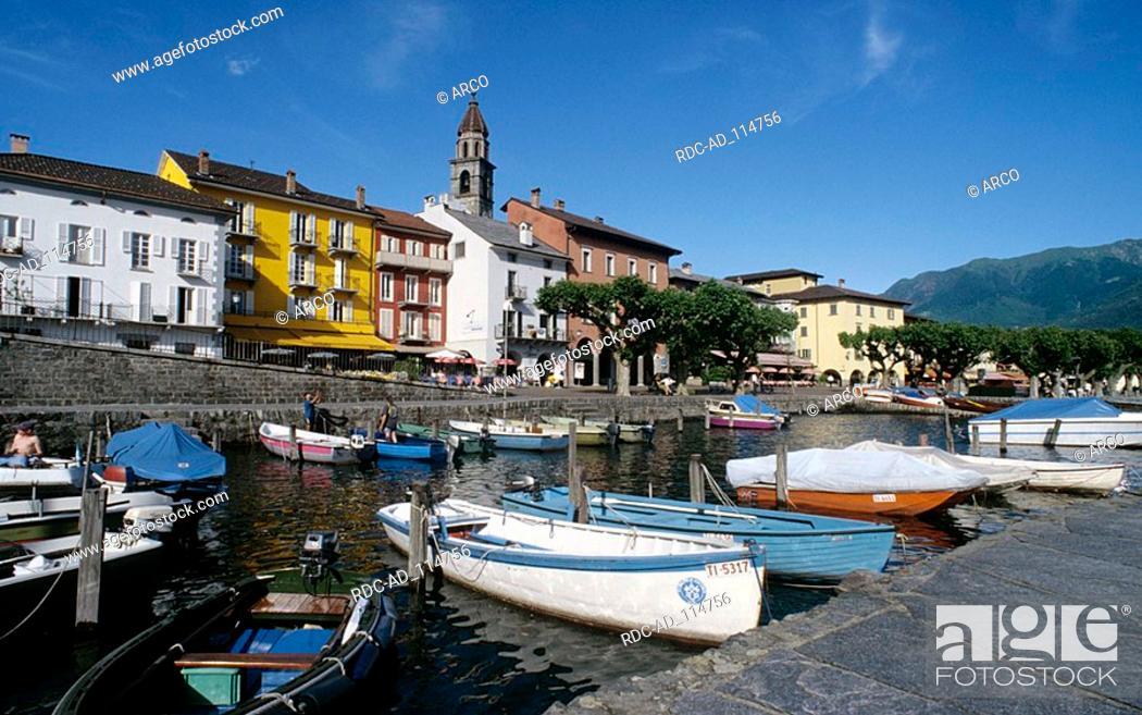 Stock Photo: Boats in harbour Ascona Lake Maggiore Ticino Switzerland Lago Maggiore.
