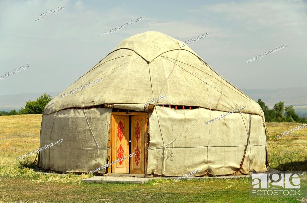 Stock Photo: Yurt, typical Central Asia dwelling.