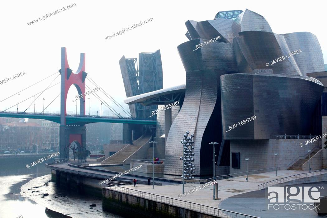 Stock Photo: Guggenheim Museum, Abandoibarra, Bilbao, Bizkaia, Basque Country, Spain.