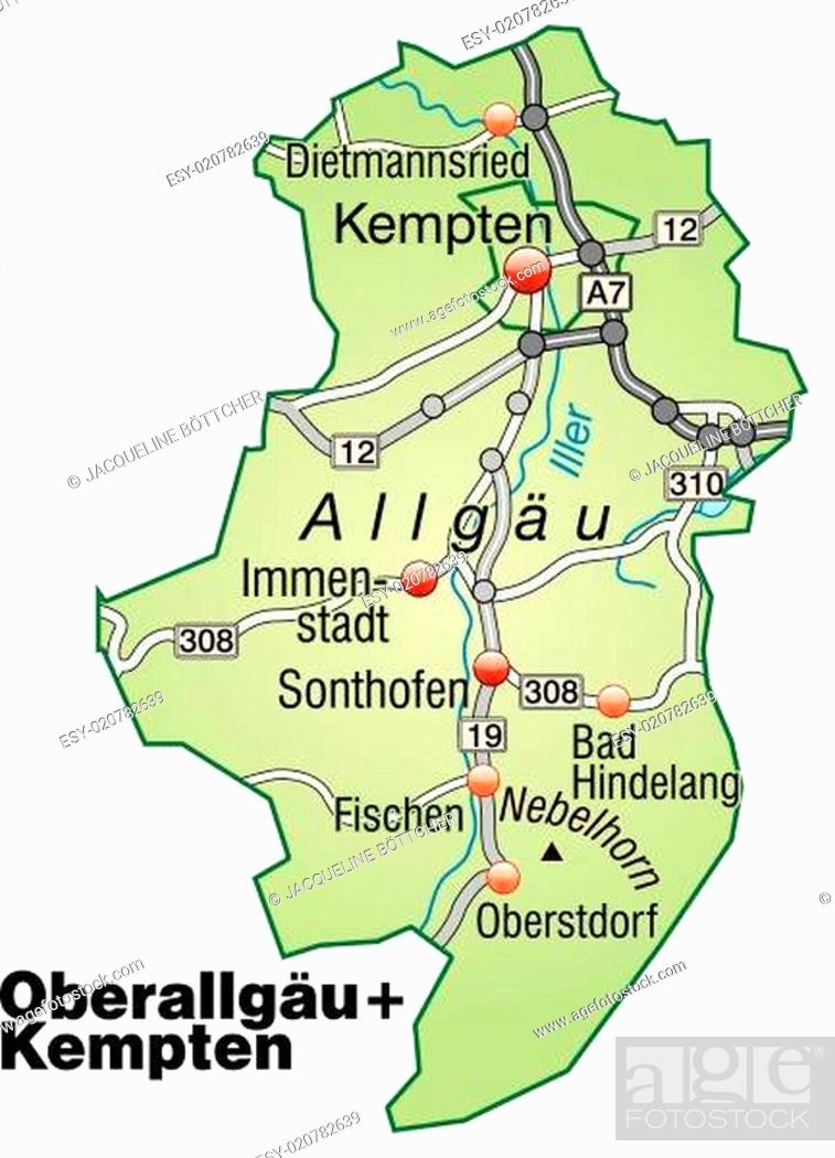 Karte Von Oberallgaeu Mit Verkehrsnetz In Pastellgrun Stock
