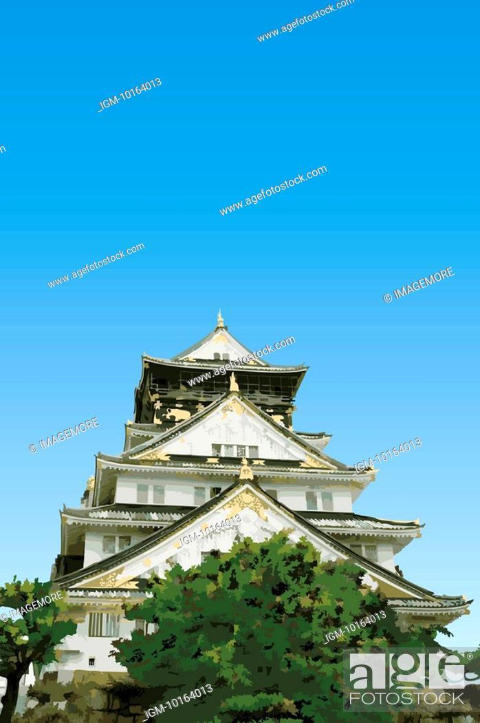 Stock Photo: Japan, Osaka Castle, Osaka Castle.