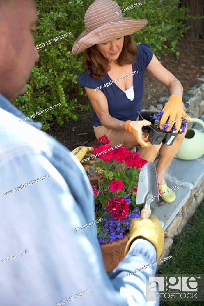 Stock Photo: High angle view of a mature woman holding a potted plant and a mature man standing with a trowel.