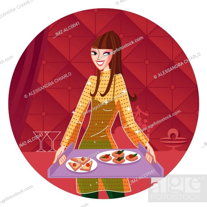 Stock Photo: A Libra woman holding a tray of food.