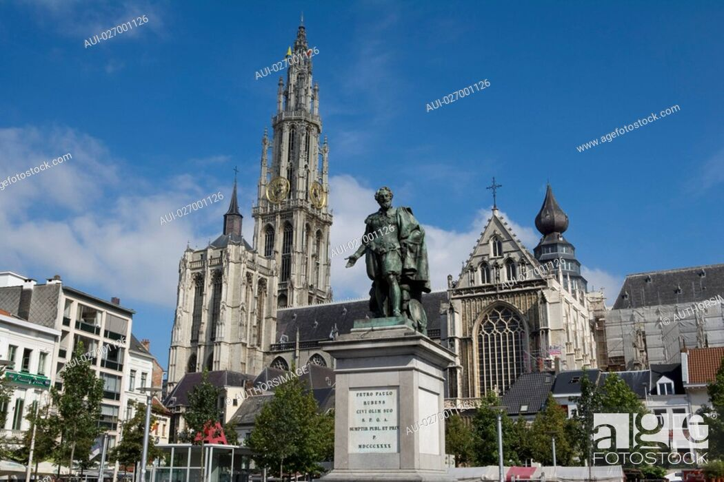 Stock Photo: Belgium - Flanders - Antwerp - Statue of Peter Paul Rubens and the Cathedral of Our Lady Onze-Lieve-Vrouwekathedraal.